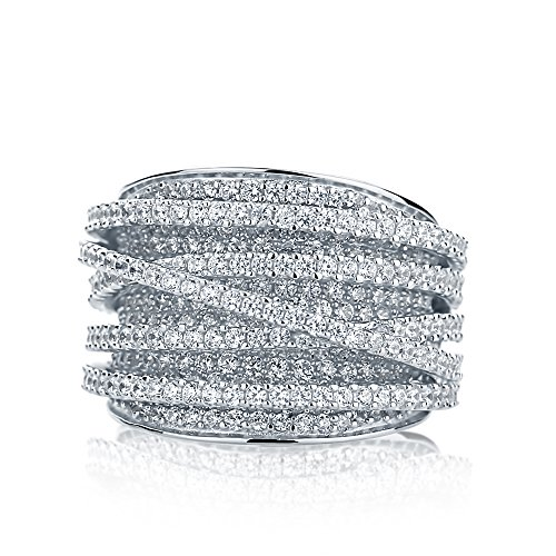 Sterling Silver Rhodium Plated Intertwined Design CZ Beautiful Pave Set Right Hand (Pave Wedding Ring Sets)