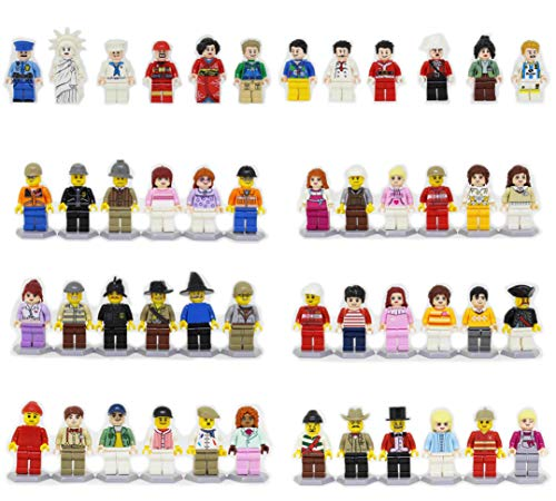 R-Magic 48 Pcs Minifigures Building Bricks Community People with Accessories, Building Party Toys -