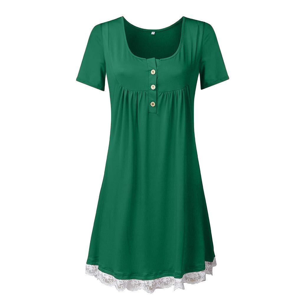 Haalife◕‿Women's Sleeveless Pockets High Low Pleated Casual Pleated Swing Beach Dress Green by HAALIFE Women's Clothing
