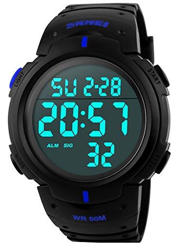 (PASOY Men Women Digital Watch Big Dial Light LED Swim Waterproof Rubber Band Alarm Black LED Watches 50MM (Blue), Large)