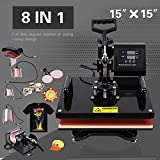 Nurxiovo 8 In 1 Heat Press Machine Transfer Sublimation Cap T-Shirt Hat Printing 15''x15''