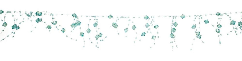 Melrose Club Pack of 12 Springtime Iridescent Aqua Blue Dangling Beaded Garland 5'