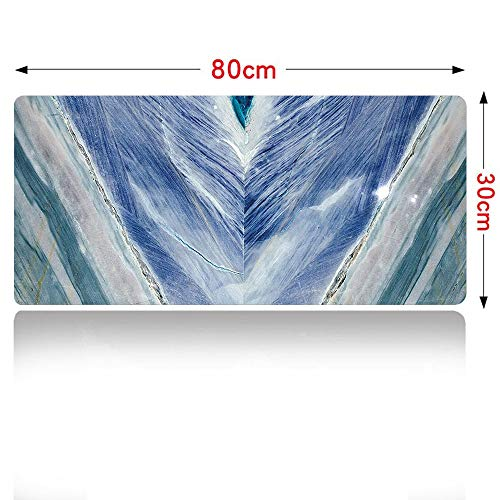 (Marble Gaming Mouse pad Onyx Stone Tribal Style with Color Elements Agate Authentic Pattern Mouse Pad Large Size 800x300mm Teal Dark Blue Light Grey 32×12in)