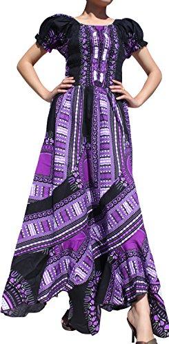 Maxi Smock (Raan Pah Muang Africa Dashiki Black Baby Doll Full Wild Smock Waist Ladies Dress, X-Large, Black Violet)