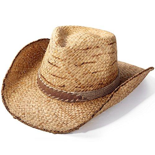 Deevoov Lightweight Raffia Straw Cowboy Sun Hats Toyo Curl Fedora Gambler Hats