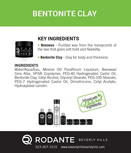 Bentonite Hair Clay Wax Pomade | Rodante for Men | Texture Matte Paste Finished | Beeswax Moisturizer | Detox & PH Balance | No Alcohol & Parabens. Made in USA 2 o by Premium Brand Rodante Beverly Hills for Men (Image #3)