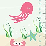 Growth Chart for Girls, Sea Life Girls Height Chart, Sea Creatures Wall Art, Personalized Wall Decor,