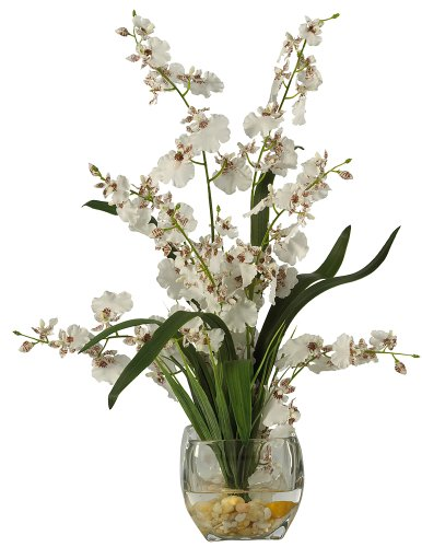 Nearly Natural 1119-WH Dancing Lady Orchid Liquid Illusion Silk Flower Arrangement, ()