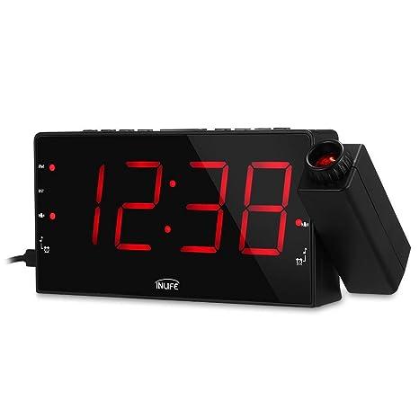 InLife Despertador Proyector Reloj de Proyección Despertador Digital Radio FM 2 Despertadores con Snooze Ajustable Pantalla