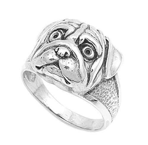 CloseoutWarehouse Sterling Silver Bulldog Ring Size 7 (Sterling Ring Bulldog Silver)