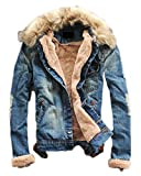 Product review for xiaoming Winter Men's Faux Denim Fur Thick Washed Slim Blue Collar Fleece