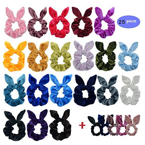 Chloven 25 Pack Hair Scrunchies Velvet Elastic Hair Bands Scrunchy Hair Ties Ropes Scrunchies for Women Girls Bunny Headband, Rabbit Ear Bow Scrunchies
