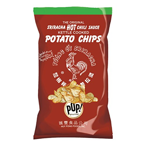 Sriracha Chips by Pop! Gourmet | Original Huy Fong Sriracha Seasoned Potato Chips | Spicy Flavored, Gluten Free, Kettle Cooked, Natural Snacks for the Smart Snacker | 8oz (Single Bag)