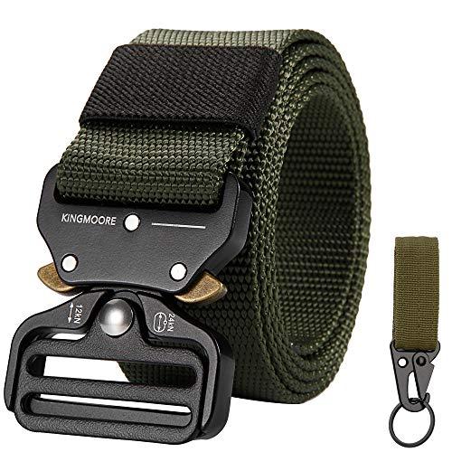 KingMoore Mens Tactical Belt, Military Style Webbing Riggers Web Gun Belt with Heavy-Duty Quick-Release Metal Buckle (Waist:42