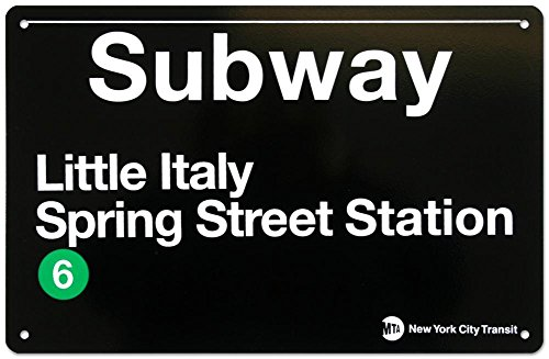 Subway Little Italy- Spring Street Station Tin Sign 17 x 11in