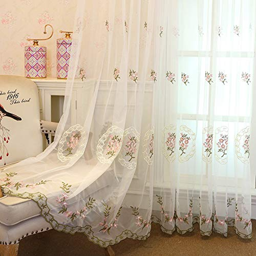 WINYY Romantic Floral Sheer Curtain Drape Rod Pocket Top Voile Curtain for Living Room Bedroom Kitchen Dining Room Doorway Embroidered Window Treatment 1 Panel Tulle Curtain 52