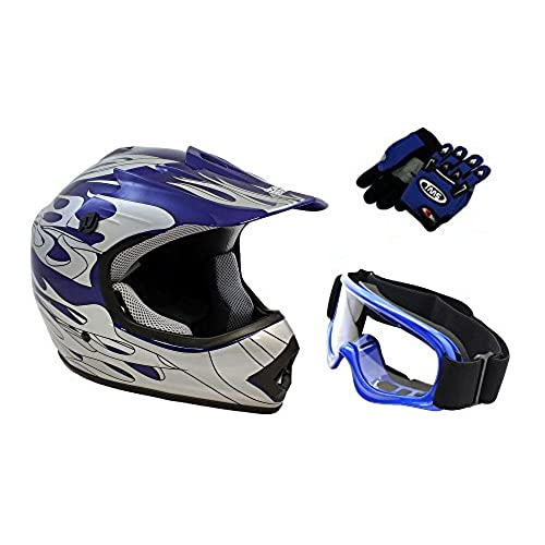 TMS Youth Kids Blue Flame ATV Dirt Bike Motocross Helmet with Goggles and Gloves (Medium)