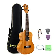 Mahogany Concert Ukulele Beginners, Strong Wind 23 Inch Natural Uke Ukulele Starter Kit with Tuner, Professional Aquila Strings, Strap, Picks and Carrying Bag for Kids Children Adults Students
