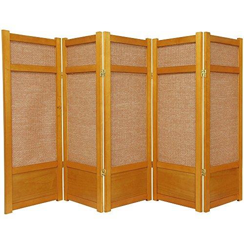 Oriental Furniture 4 ft. Tall Low Jute Shoji Screen - 5 Panel - Honey ()
