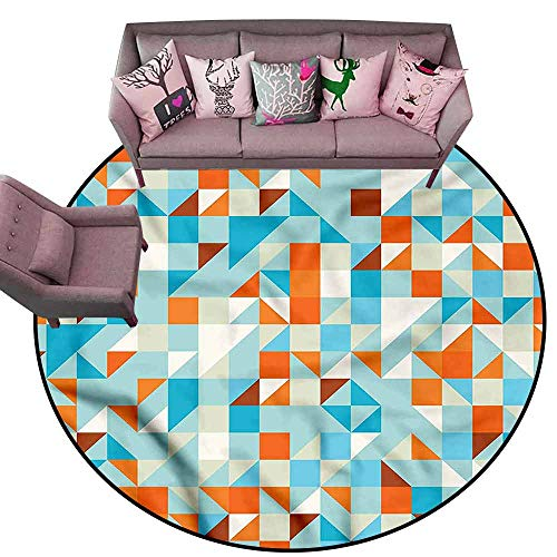 Kitchen Doormat Abstract Triangle,Squares Checkered Diameter 66