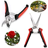 Sumnacon Gardening Sharp Pruning Shears - Heavy Duty Stainless Steel Hand Pruner Pruning Scissors Snip Tree Trimmer With Safety Lock, Ideal Branches/Rose Cutter With Comfortable Handle
