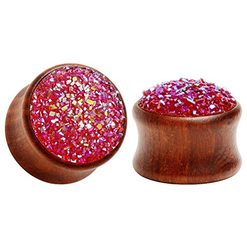 KUBOOZ(1 Pair Red-Stone Surface Wooden Ear Plugs Tunnels Gauges Stretcher Piercings