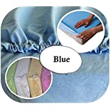 Jersey 100% Cotton Fitted Sheet Suits Junior Cot Bed 160x70 cm - BLUE