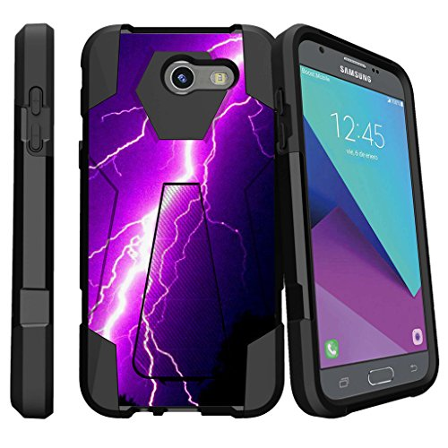 2-Piece Case by MINITURTLE Compatible w/Samsung Galaxy J3 Emerge, J3 Eclipse, Luna Pro [Shock Fusion Case with Stand Feature] - Purple Lightning Bolt