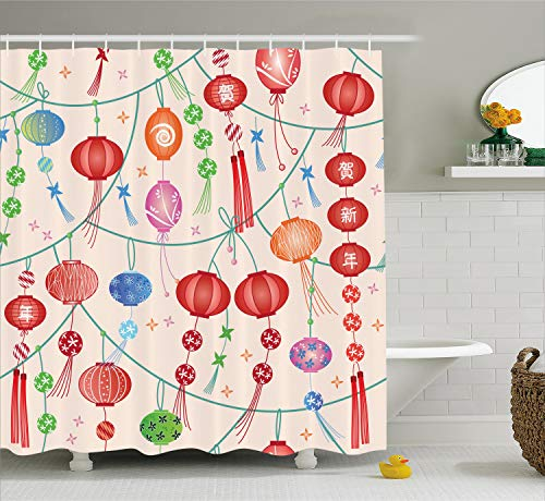 Ambesonne Lantern Decor Collection, Colorful New Year Decorative Chinese Lanterns Celebration Holiday Artwork, Polyester Fabric Bathroom Shower Curtain Set with Hooks, Orange Red Green -