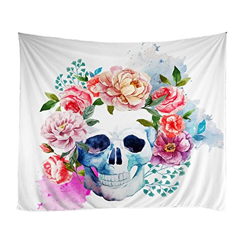 Adarl Natural&Pastoral Style Hanging Wall Tapestries Cactus Tapestry Square Hippy Boho Gypsy Full-Polyester Tapestry Table Cover Bedspread Beach Towel Skull Floral - Pastoral Hanging Tapestry Wall