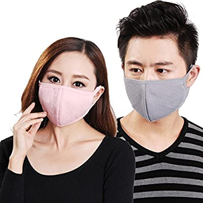3 Pieces Unisex Adult PM 2.5 Cotton & Activated Carbon Anti-fog Anti Dust Flu Face Mouth Warm Masks Healthy Air Filter Dustproof Antivirus Antibacterial Protective Guaze Masks