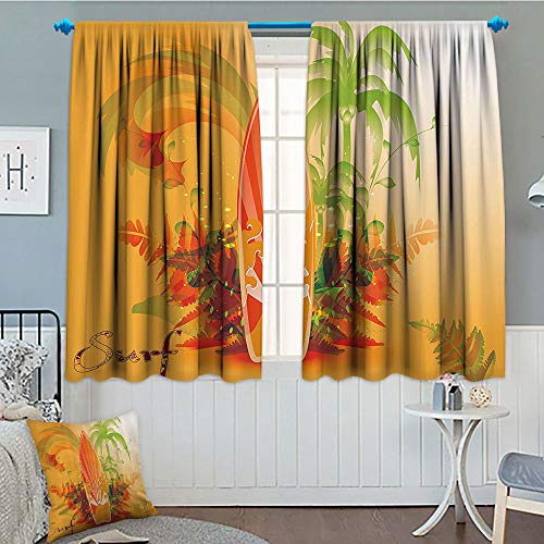 Activities Party 52 Fun - GLANDU Surfboard Decor Collection, Blackout Window Curtain, Surf Background Wave Water Drops Advertise Leaf Activities Destination Fun Party Image, Customized Curtains, 52x63 Inch Orange