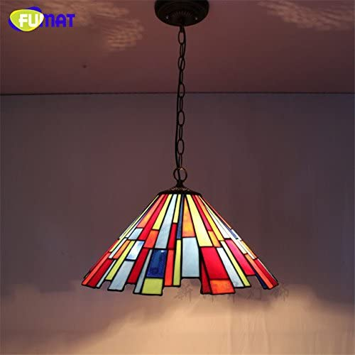 FUMAT Stained Glass Lights Tiffany Pendant Lights Dinning Room Pendant Lamp LED Art Glass Shade Ceiling Pendant Lamp Dia 17