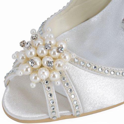 Elegantpark Vrouwen Hoge Hak Pompen Peep Toe Parels Riemen Avond Prom Bruids Bruiloft Sandalen Ivoor