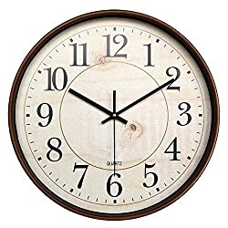 Bekith 14-Inch Retro Clock Large Indoor/Outdoor Decorative Non-Ticking Silent Wall Clock