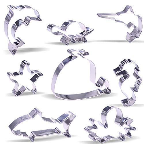 Large Sea Creatures Cookie Cutters - 8 Pieces - Stainless Steel (Sea Creatures Cookie Cutters)