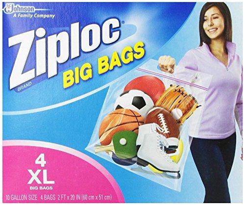 ジップロック ビッグバッグ ダブルジッパー 防水バック 大きい サイズ Ziploc Big Bag Double Zipper (X-Large(60cm×51cm) 4枚入りの商品画像