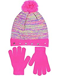 SWAK Girl's Cute Knit Hat with Pom and Jeweled Cuff & Gloves Set in 3 Colors