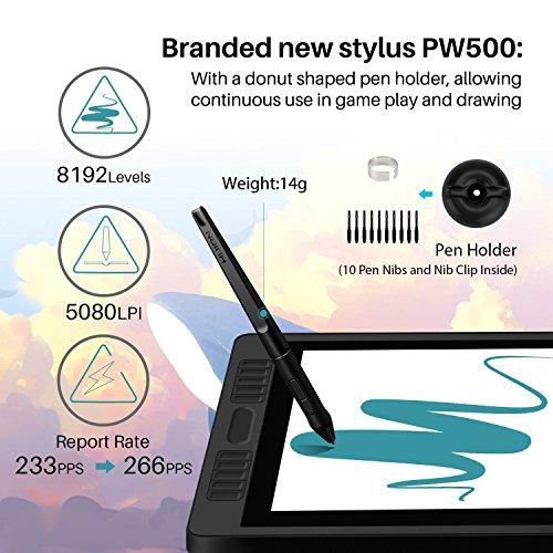 Monitor de dibujo Huion KAMVAS PRO 22 HD Pen Display con función de inclinación 8192 Lápiz sin batería, 10 teclas de acceso directo y 2 Touch Bar -21.5 pulgadas