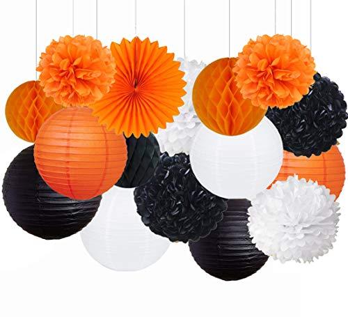 Party Decorations Kit - 16pcs Paper Tissue Honeycomb Balls Lanterns Paper Pom Poms Flowers Hanging Fan for Halloween Bridal Baby Shower Birthday Wedding School Graduation (Orange Black White) ()