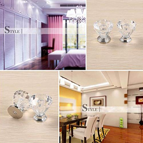 WOTOY Aluminum Alloy Badminton Crystal Cabinet Knobs 25mm Diamond Shape Drawer Cabinets Dresser Cupboard Wardrobe Pulls Handles 10 Pcs by WOTOY (Image #7)