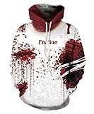 Unisex Pullovers Sweatshirts I'm Fine Horror Hoodies Men 3D Printed Zombie Hooded