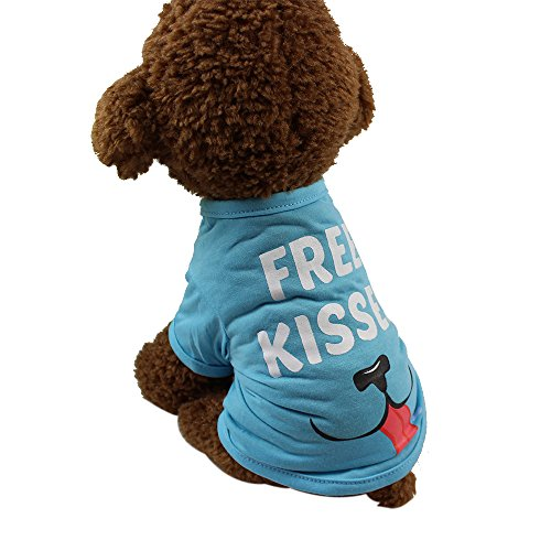 Axchongery Dog Clothes, Fashion Pet Floral Print Apparel Small Puppy Cat Cute Summer Vest Skirt (XXS, Sky Blue)