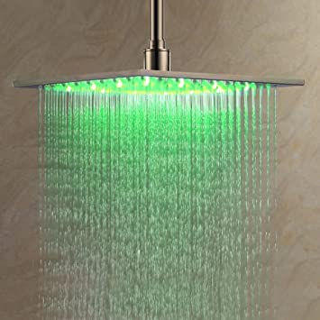 Ouku Stainless Steel Rainfall Shower Head 12 Inch Bathroom Square LED Shower  Head Fixed Wall Mount
