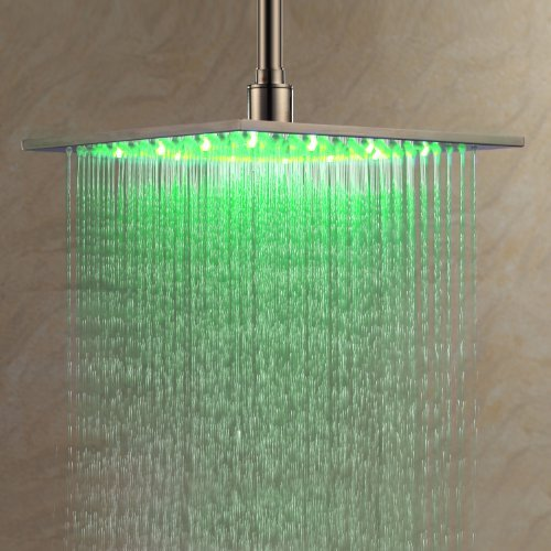 Rainfall Shower Head 12 Inch Bathroom Square LED Shower Head Fixed Wall Mount Shower Head Without Shower Arm Thin Big Lavatory Shower Head Ceiling Mount ()
