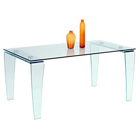 Amazon.com: chintaly Vera mesa de comedor con vidrio ...