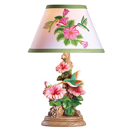Hummingbird And Flowers Table Lamp, (Lamp Stripes Table Lamp)
