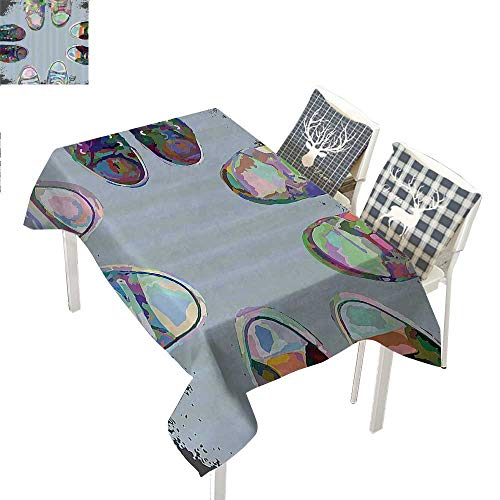 (WilliamsDecor Modern Decor Table Cover Teen Rubber Rebel Rocker Shoes in Street Squad Friends Gang Abstract ImageMulticolor Rectangle Tablecloth W60 xL102)