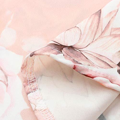 Myoumobi_ Women Fashion Floral Print Dress Loose O Neck Sleeveless Mini Dress Summer Casual Spaghetti Strap Sundress Pink by Myoumobi_Dress (Image #4)