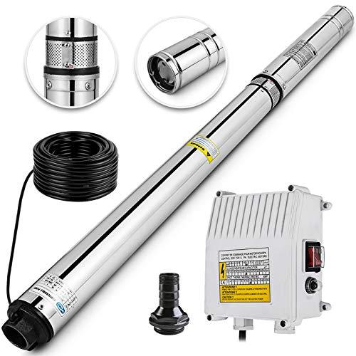 Happybuy Deep Well Submersible Pump 3HP 220V Submersible Well Pump 630ft 42GPM Stainless Steel Deep Well Pump for Industrial and Home Use (Best Rated Submersible Well Pumps)